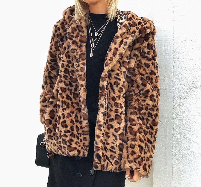 Moda recoger mejor selección de 2019 Chaqueta abrigo de pelo de leopardo con capucha.