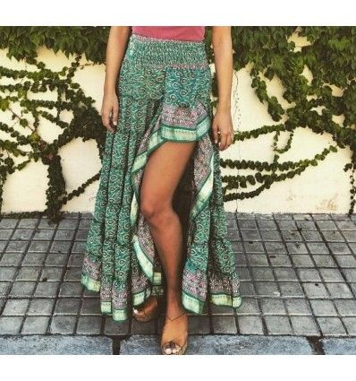Falda asimétrica verde boho hippie chic Ibiza