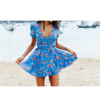 mini vestido summer azul print floral Jaase marca australiana