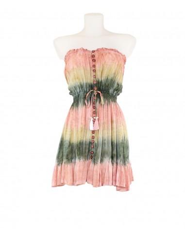 Vestido corto palabra honor estampado rayas degradadas tie dye