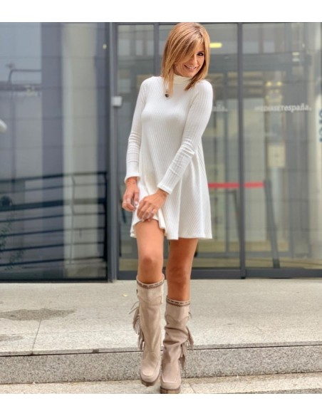 vestido blanco de punto Gema López