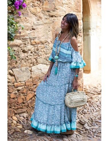 Vestido Boheme turquesa