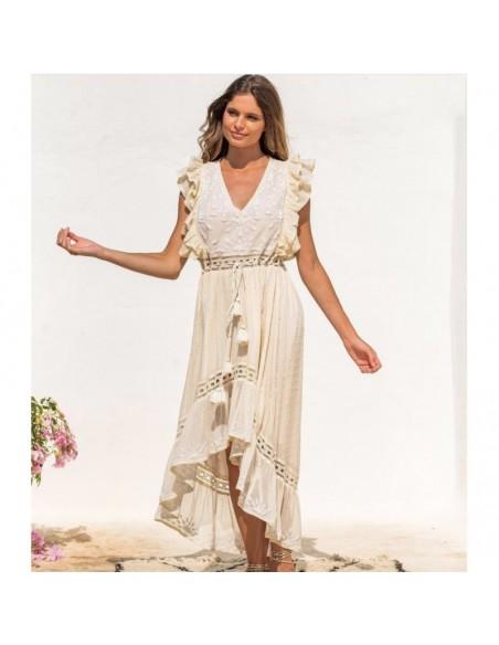 vestido largo blanco roto asimétrico bordado estilo boho chic bohemio
