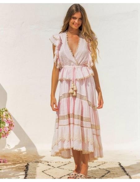 conjunto set top y falda boho chic bordado rosa