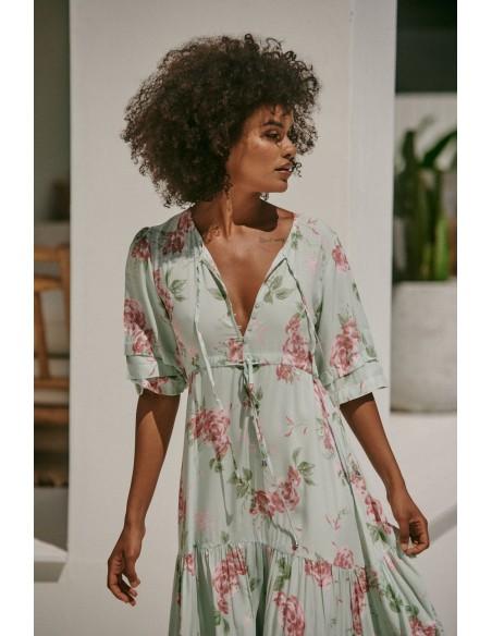 vestido largo boho chic estampado floral modelo Mintie Mariana Jaase