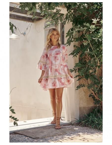 vestido corto tie dye rosa Jayda Jaase