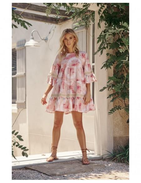 Vestido corto tie dye rosa boho hippie chic Jayda mini Jaase