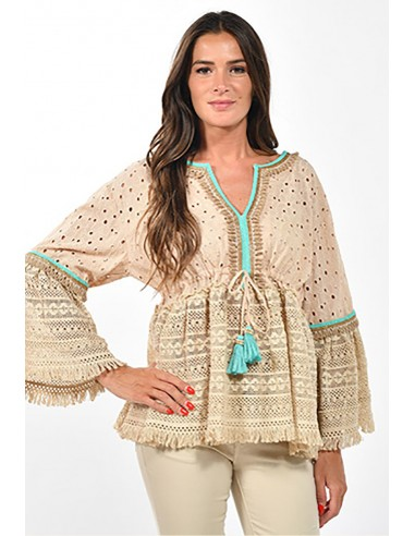 blusa camisa boho hipppie chic beige y turquesa