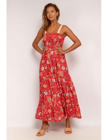 Vestido largo rojo estampado flores con nido de abeja y tirantes