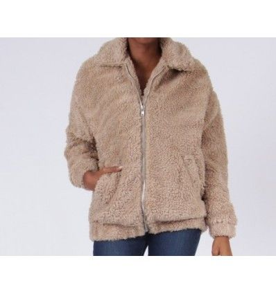 CHAQUETA TEDDY BEAR COLOR TAUPE