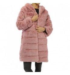 Abrigo pelo rizado rosa
