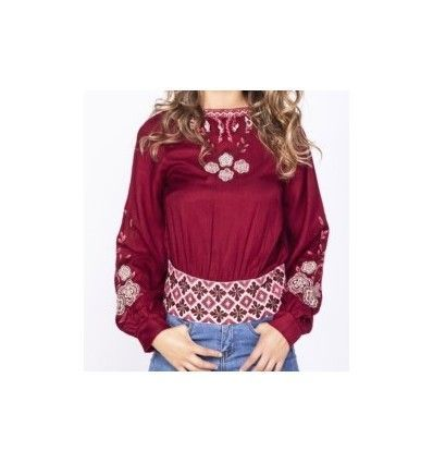 BLUSA KAVERI BOHO CHIC GRANATE BORDADA